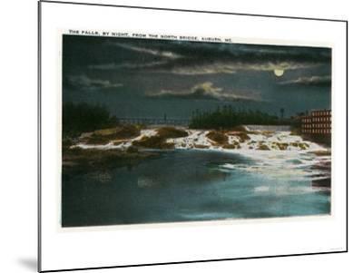Auburn, Maine - North Bridge View of the Falls at Night-Lantern Press-Mounted Art Print