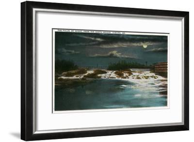 Auburn, Maine - North Bridge View of the Falls at Night-Lantern Press-Framed Art Print