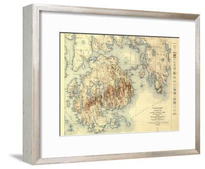 Acadia National Park - Topographic Panoramic Map-Lantern Press-Framed Art Print