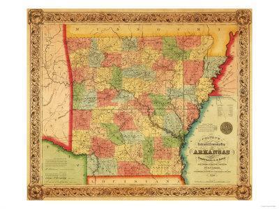 Arkansas - Panoramic Map-Lantern Press-Framed Art Print