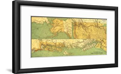 Alaskan Excursion Steam Route - Panoramic Map-Lantern Press-Framed Art Print