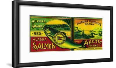 Aurora Borealis Salmon Can Label - Karluk, AK-Lantern Press-Framed Art Print