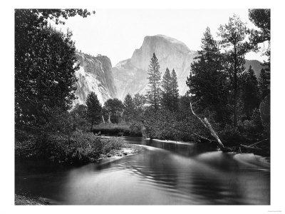 Yosemite National Park, Valley Floor and Half Dome Photograph - Yosemite, CA-Lantern Press-Framed Premium Giclee Print