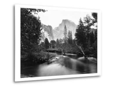 Yosemite National Park, Valley Floor and Half Dome Photograph - Yosemite, CA-Lantern Press-Metal Print