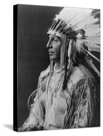 White Shield Arikara Native American Indian Curtis Photograph-Lantern Press-Stretched Canvas Print