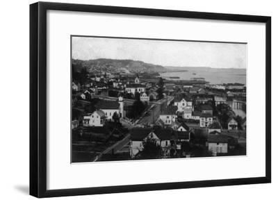 Astoria, Oregon Town View Looking West Photograph-Lantern Press-Framed Art Print