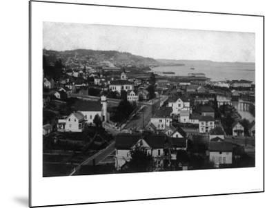 Astoria, Oregon Town View Looking West Photograph-Lantern Press-Mounted Art Print