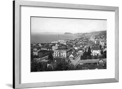 Astoria, Oregon Business Section and Waterfront Photograph-Lantern Press-Framed Art Print