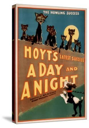 """""""A Day and a Night"""" Cats and Dogs Musical Poster-Lantern Press-Stretched Canvas Print"""