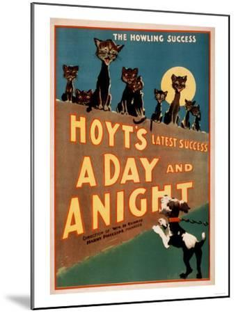 """""""A Day and a Night"""" Cats and Dogs Musical Poster-Lantern Press-Mounted Art Print"""