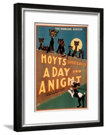 """""""A Day and a Night"""" Cats and Dogs Musical Poster-Lantern Press-Framed Art Print"""
