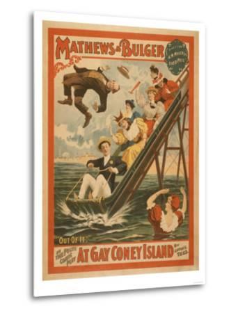 """""""At Gay Coney Island"""" Musical Comedy Poster No.2-Lantern Press-Metal Print"""