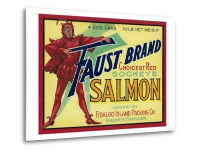 Anacortes, Washington - Faust Salmon Case Label-Lantern Press-Metal Print