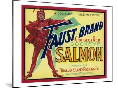 Anacortes, Washington - Faust Salmon Case Label-Lantern Press-Mounted Art Print