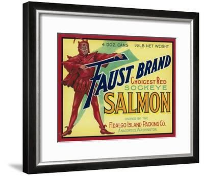 Anacortes, Washington - Faust Salmon Case Label-Lantern Press-Framed Art Print