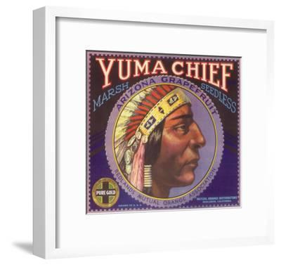 Yuma Chief Orange Label - Redlands, CA-Lantern Press-Framed Art Print