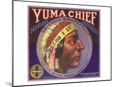 Yuma Chief Orange Label - Redlands, CA-Lantern Press-Mounted Art Print