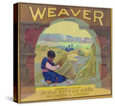 Weaver Orange Label - Piru, CA-Lantern Press-Stretched Canvas Print