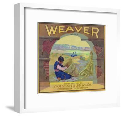 Weaver Orange Label - Piru, CA-Lantern Press-Framed Art Print