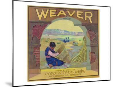Weaver Orange Label - Piru, CA-Lantern Press-Mounted Art Print