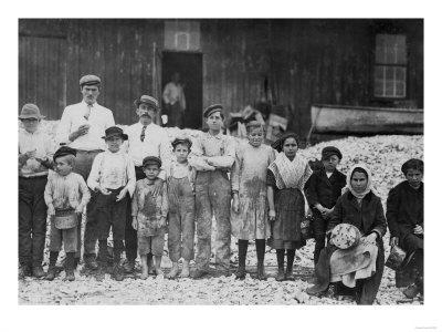 Young and Old Shrimp Pickers of Dukate Co. Photograph - Biloxi, MS-Lantern Press-Framed Art Print