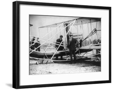Wilbur Wright with Canoe attached to Plane Photograph - New York-Lantern Press-Framed Art Print