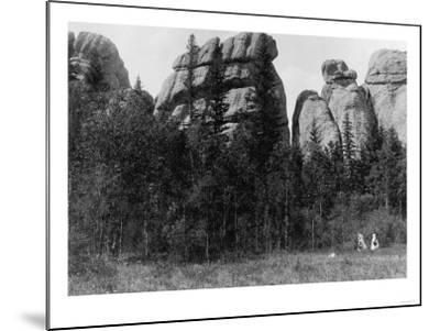 Women in front of Lake Harney Peaks Photograph - Custer City, SD-Lantern Press-Mounted Art Print