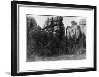 Women in front of Lake Harney Peaks Photograph - Custer City, SD-Lantern Press-Framed Art Print