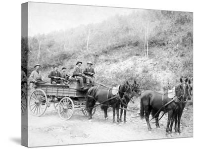 Wells Fargo Express Company Wagon and Guards Carrying Gold from Mine Photograph - Deadwood, SD-Lantern Press-Stretched Canvas Print