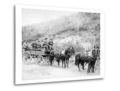 Wells Fargo Express Company Wagon and Guards Carrying Gold from Mine Photograph - Deadwood, SD-Lantern Press-Metal Print