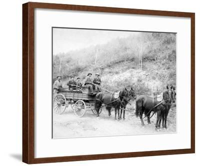 Wells Fargo Express Company Wagon and Guards Carrying Gold from Mine Photograph - Deadwood, SD-Lantern Press-Framed Art Print