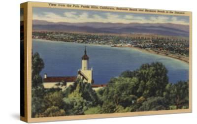 View of Redondo & Hermosa Beaches, California - Palo Verde Hills, CA-Lantern Press-Stretched Canvas Print