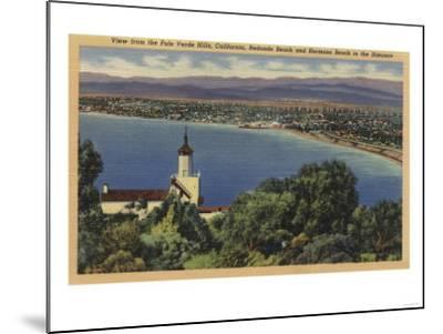 View of Redondo & Hermosa Beaches, California - Palo Verde Hills, CA-Lantern Press-Mounted Art Print