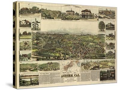 Auburn, California - Panoramic Map-Lantern Press-Stretched Canvas Print