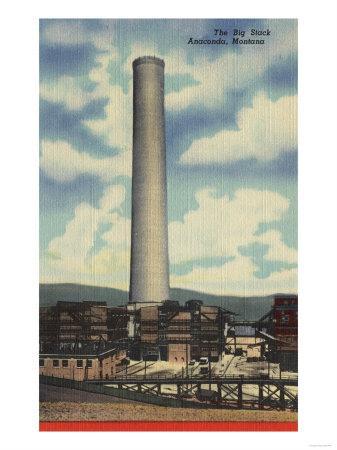 "Anaconda, Montana - Washoe Smelter View of the ""Big Stack""-Lantern Press-Framed Art Print"