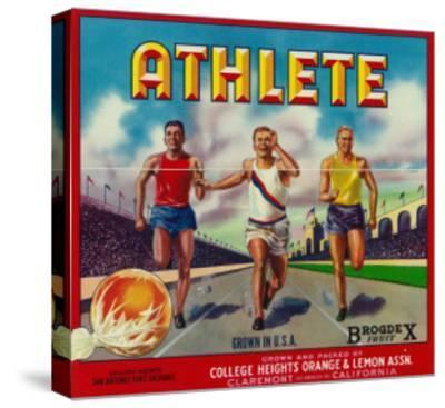 Athlete Brand Citrus Crate Label - Claremont, CA-Lantern Press-Stretched Canvas Print