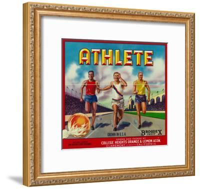 Athlete Brand Citrus Crate Label - Claremont, CA-Lantern Press-Framed Art Print
