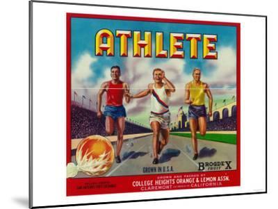 Athlete Brand Citrus Crate Label - Claremont, CA-Lantern Press-Mounted Art Print