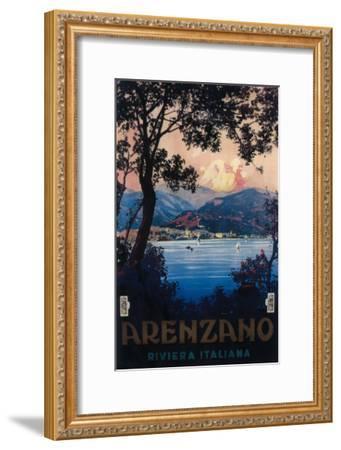 Arenzano, Italy - Italian Riviera Travel Poster - Arenzano, Italy-Lantern Press-Framed Art Print