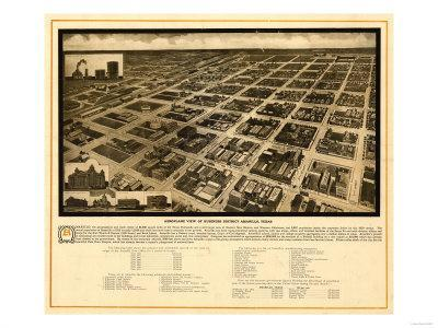 Amarillo, Texas - Panoramic Map-Lantern Press-Framed Art Print