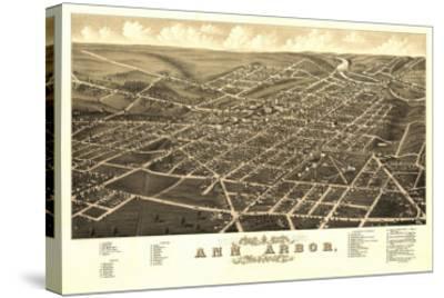 Ann Arbor, Michigan - Panoramic Map-Lantern Press-Stretched Canvas Print