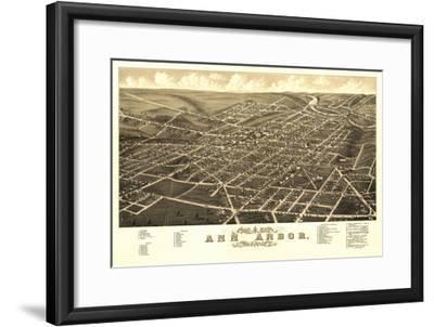 Ann Arbor, Michigan - Panoramic Map-Lantern Press-Framed Art Print