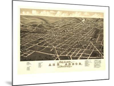 Ann Arbor, Michigan - Panoramic Map-Lantern Press-Mounted Art Print