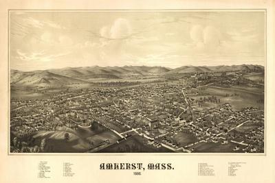 Amherst, Massachusetts - Panoramic Map-Lantern Press-Stretched Canvas Print