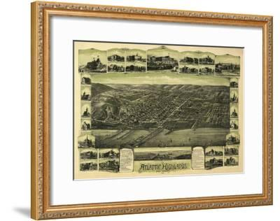 Atlantic Highlands, New Jersey - Panoramic Map-Lantern Press-Framed Art Print
