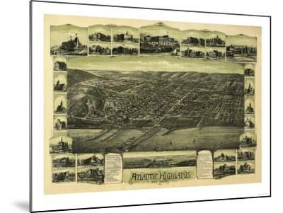 Atlantic Highlands, New Jersey - Panoramic Map-Lantern Press-Mounted Art Print