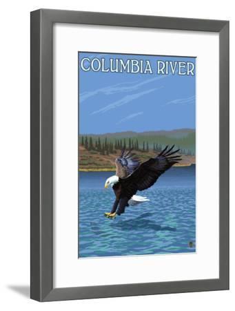 Columbia River, Washington - Eagle Diving-Lantern Press-Framed Art Print