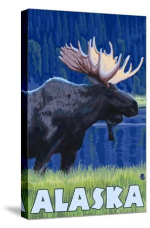 Alaska - Moonlight Moose-Lantern Press-Stretched Canvas Print