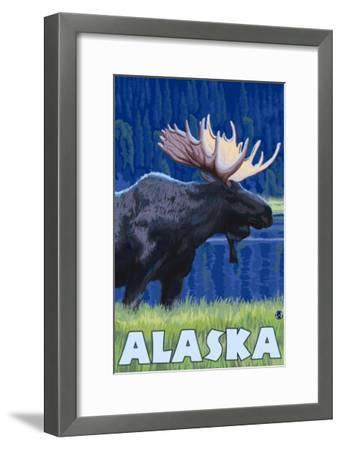Alaska - Moonlight Moose-Lantern Press-Framed Art Print