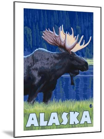 Alaska - Moonlight Moose-Lantern Press-Mounted Art Print